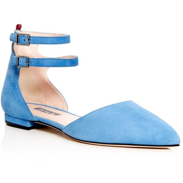 Sjp by Sarah Jessica Parker Consume d'Orsay Pointed Toe Flats - 100%... found on Polyvore featuring shoes, flats, blue, flat pointed-toe shoes, ankle strap flats, pointed toe flats, ankle wrap flats and d'orsay shoes