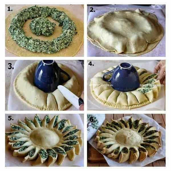 Spinach Pie looks like a sun! Great party platter