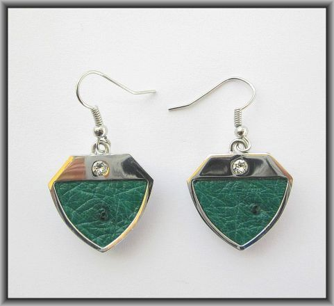 Ostrich leather crystal earrings - Brilliant Green OE06