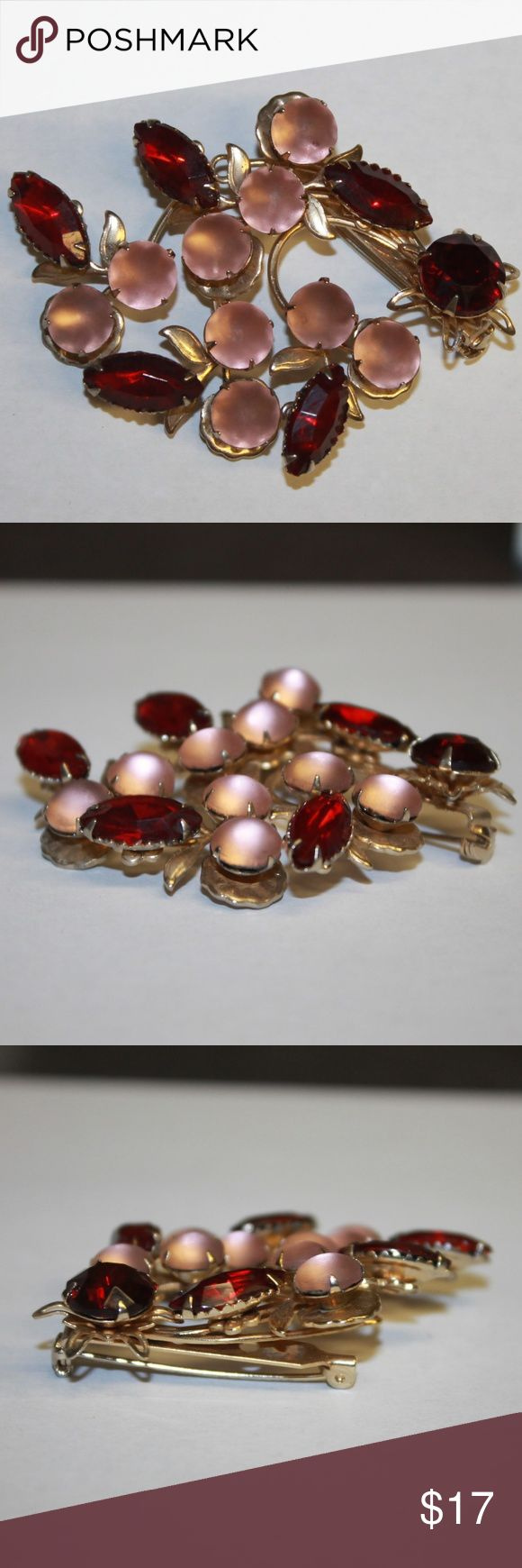 Pink & Red Glass Rhinestone Flower Pin Brooch Gold 2/18-JB229 Absolutely gorgeous floral spray brooch featuring faceted ruby red navettes and frosted pink cabochons. Overall great vintage condition. This brooch measures 2 inches tall by 2.5 inches wide. Total weight of 0.67 ounces. All jewelry / accessories come with a gift box and are usually sent out same day or next day (business days). Please examine the pictures closely, as we consider them to be a part of the description. Jewelry…