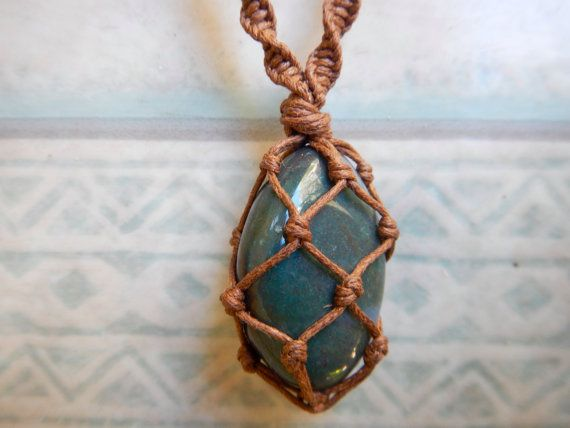 Healing Fancy Jasper Macrame Wrapped Necklace.