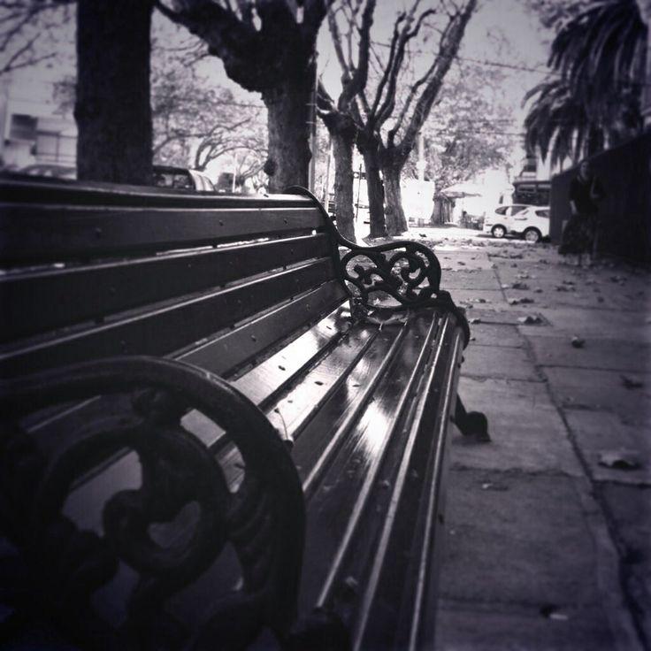 Calle otoñal #escaño #otoño #blancoynegro Iphone 4S