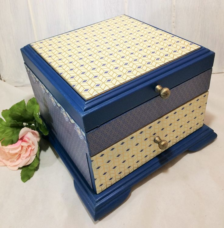 Large Jewelry Box, Mid Century Modern Jewelry Storage Box, Men's Jewelry Organizer, Navy Geometric Jewelry Box, Gifts for Dads and Grads $68.00 by Reimaginations on Etsy
