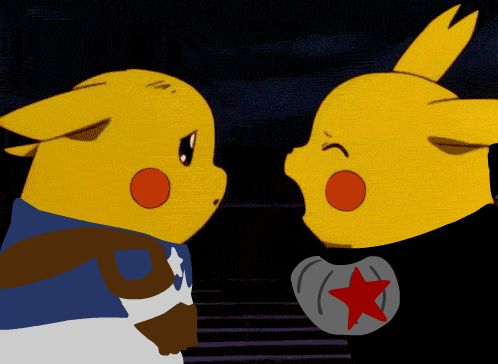 "This is the GIF version of Pikachu Captain America and Bucky. Imagine it's the part of the movie, where Cap says, ""Then finish it… 'cause I'm with you 'till the end of the line."""