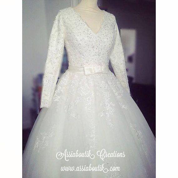 Long sleeves weding dress hijab wedding dress modest