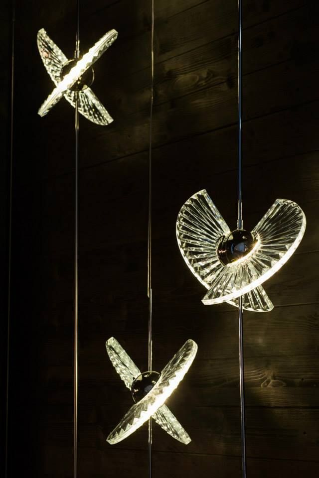 FANO. Designed by Jaroslav Bejvl jr. Two elaborately cut glass prisms folded into the shape of Japanese-inspired fans. Light is diffused by a specially designed LED source and optional kinetic features add elegant movement to the whole object. #euroluce2015 #milandesignweek #salonedelmobile #fano #crystal #light #glass #design #interiordesign #designinspo #jaroslavbejvl #bejvl #preciosalighting