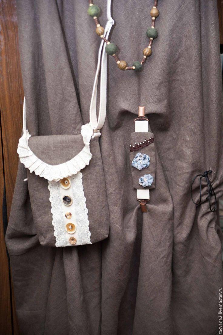 Купить Сумочка путешественницы - хаки, однотонный, сумка, текстильная, бохо, лён, хлопок, хлопковая стропа