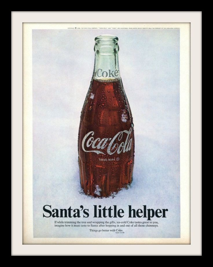 "An original 1968 advertisement for Coca Cola. Sitting in snow is this classic glass Coke bottle. Something for Santa after hopping in and out of chimneys. ""Santa's little helper"" -1968 Coke advertisem"
