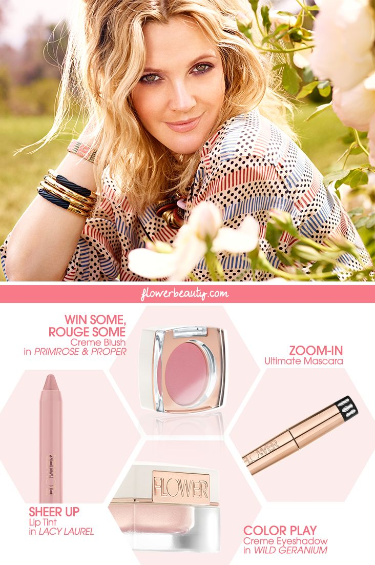 GET THE LOOK! Drew Barrymore's soft FLOWER Beauty palette perfection.