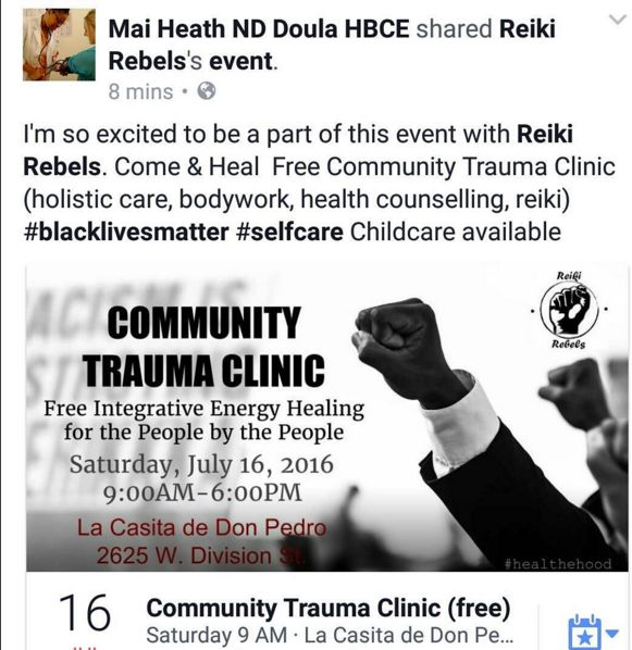 I'm so excited to be a part of this event with Reiki Rebels. Come & Heal Free Community Trauma Clinic (holistic care, bodywork, health counselling, reiki) ‪#‎blacklivesmatter‬ ‪#‎selfcare‬ Childcare available
