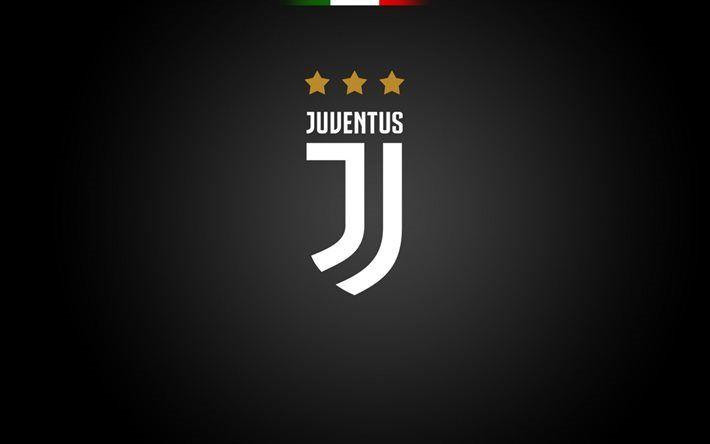 Télécharger fonds d'écran La Juventus, club de football, le logo, la Juve, le soccer, Seria A, fond noir, la Juventus nouveau logo