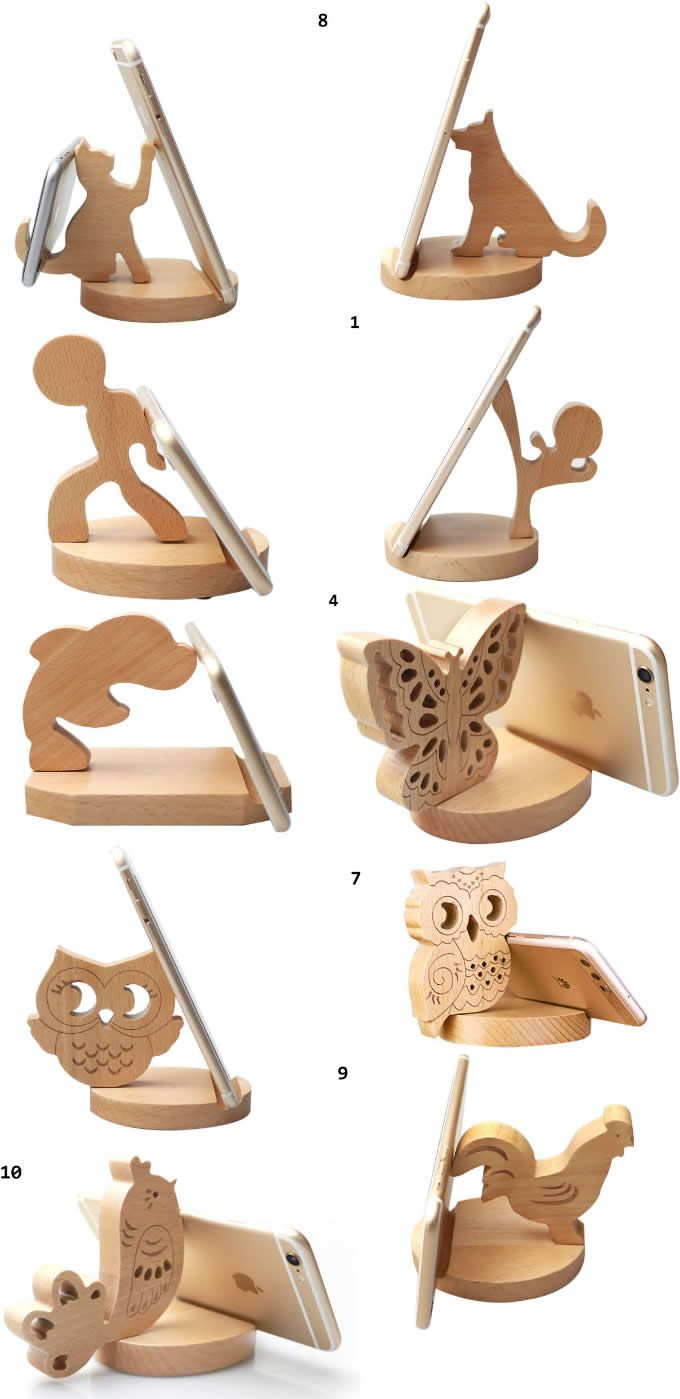 Funny Wooden Animal Iphone Cell Phone Stand Mount Holder Business