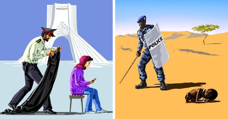 A través de las caricaturas satíricas de este artista, hace una demanda a los países que no respetan los Derechos Humanos, pero también muestra su lado amable