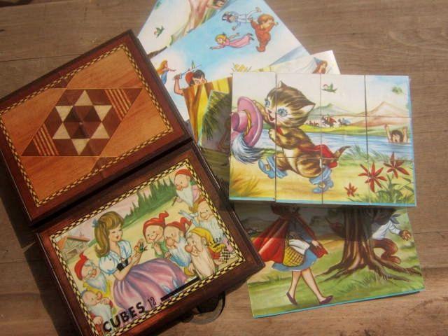I****Idée cadeau**** Jeu de cubes pour enfant . Puzzle Garnier . Boîte de cubes . Cadeau de naissance bébé . Vintage de la boutique MaZaLou sur Etsy
