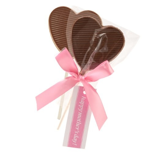 Mother's Day Creamy Heart Milk Chocolate Lollipops (6pc)