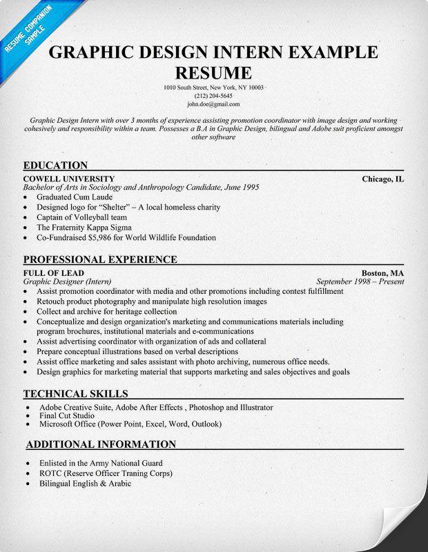 Graphic Design Intern Resume Example Student