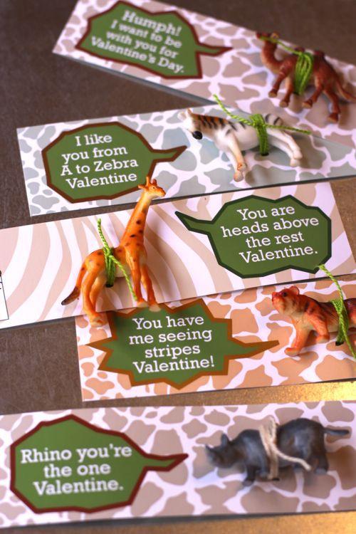 Plastic animal valentines cards ideas. Lots of phrases