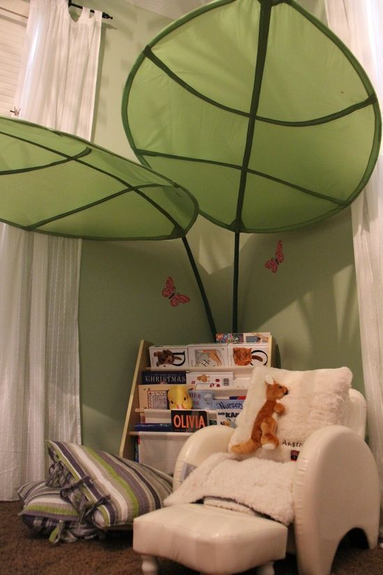Amelia S Room Toddler Bedroom: IKEA Lova Bed Canopy Green Leaf Kids Room Bedroom