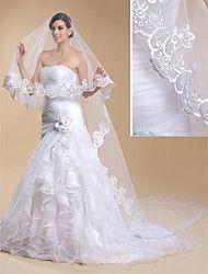 Hochzeitsschleier Einschichtig Kathedralen Schleier Spitzen-Saum 118,11 in (300cm) Tüll Spitzen Weiß EifenbeinKlassisches Kleid