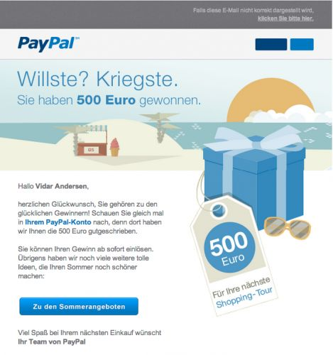 PayPal Mistakenly Informs Users About Winning 500 Euros Lottery -  [Click on Image Or Source on Top to See Full News]