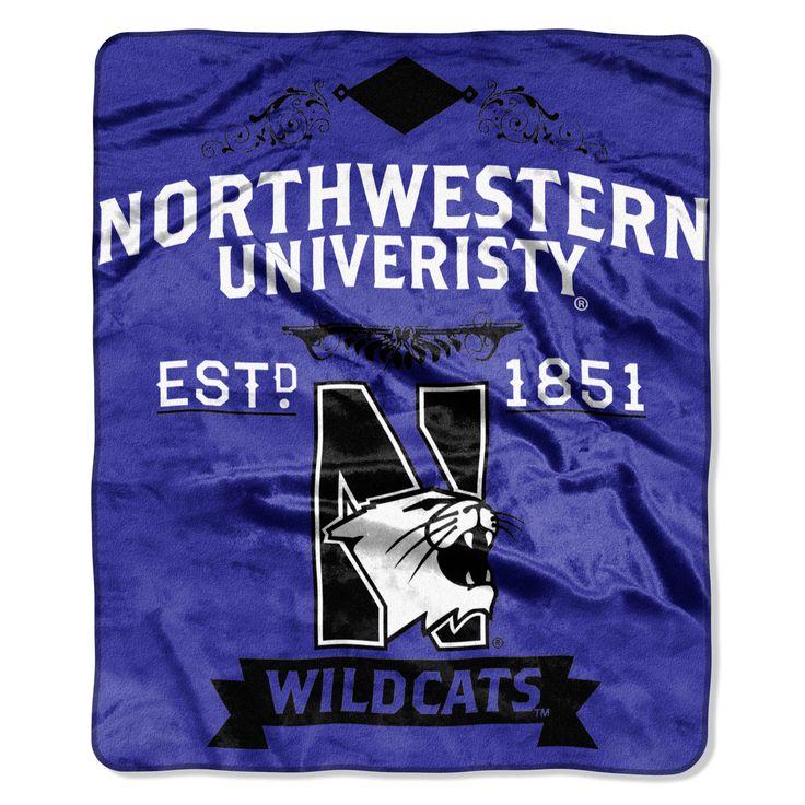 """Northwestern College Label 50""""""""x 60"""""""" Raschel Throw"""