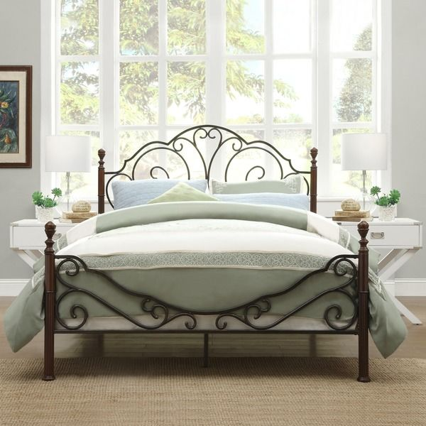 Bring a touch of continental flair to your bedroom with this European-style bed frame. Made of durable metal, this bronze iron bed frame is polished with a distressed bronze and cherry finish. With cl