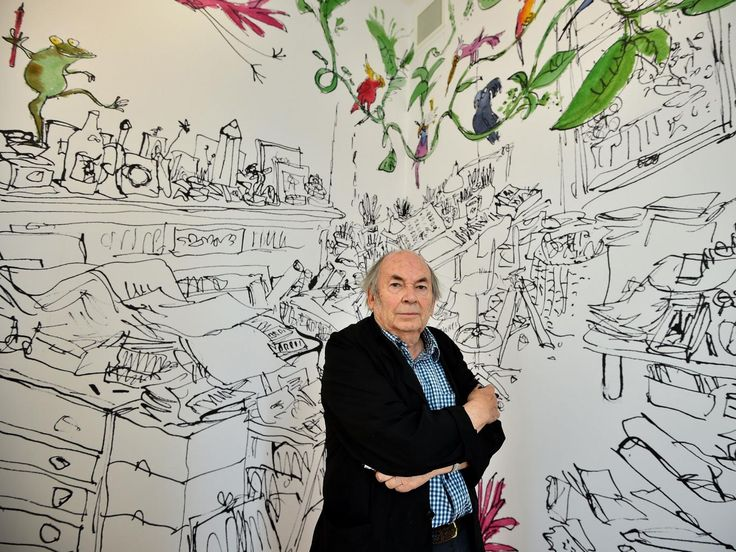 Quentin Blake poses at his 'Inside Stories' exhibition at the new House of Illustration in London