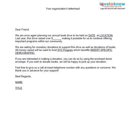 Sample Fundraising Event Thank You Letters Template on
