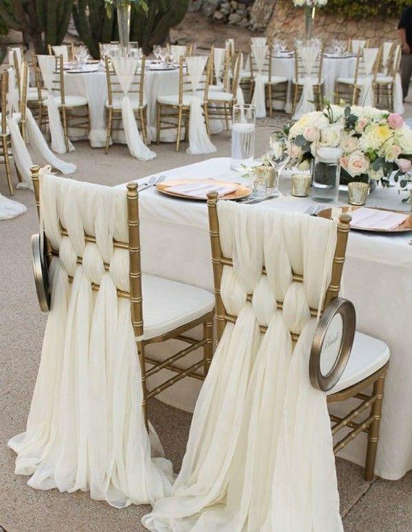 wedding reception chair decoration ideas with chiffon