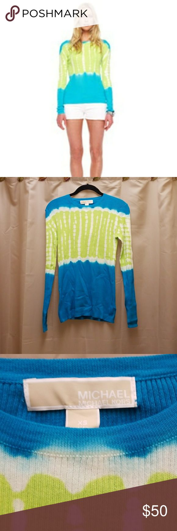 Michael Kors Ribbed Tie Dye Sweater Blue Green XS New With Tags Michael Kors  Tie Dye Sweater Lightweight  Beautiful Neon Colors of Blue and Green  Colors are a cross between Stock photo and mine.. Though, more neon than mine Tag calls it Tile Blue Great for any season Size XS and has stretch Only selling because I keot the 2 similar ones I own.  Ask Questions  Bundle and save Michael Kors Tops