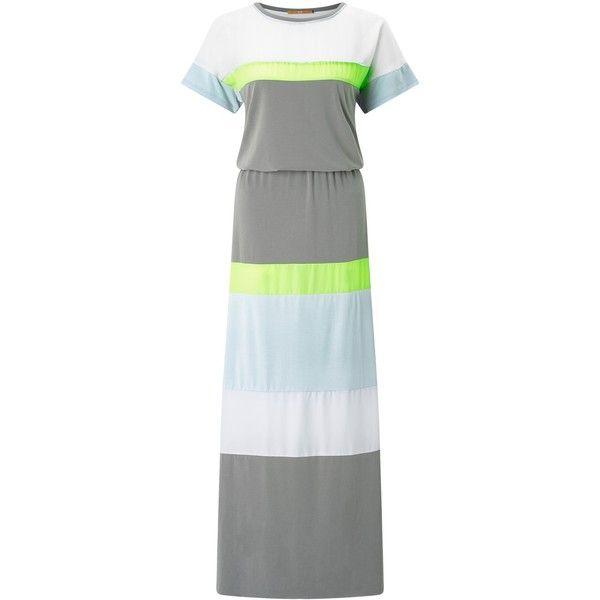 BOSS Orange Dablock Maxi Dress (€190) ❤ liked on Polyvore featuring dresses, color block maxi dresses, summer maxi dresses, short sleeve dress, sleeve maxi dress and summer midi dresses