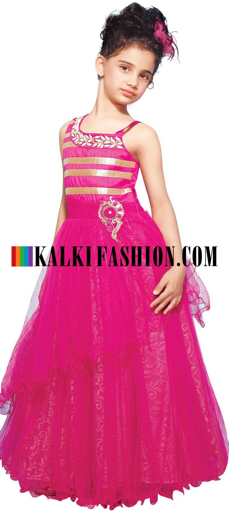 Buy Online from the link below. We ship worldwide (Free Shipping over US$100) http://www.kalkifashion.com/pink-gown-featuring-in-pleats-and-embroidered-butti.html