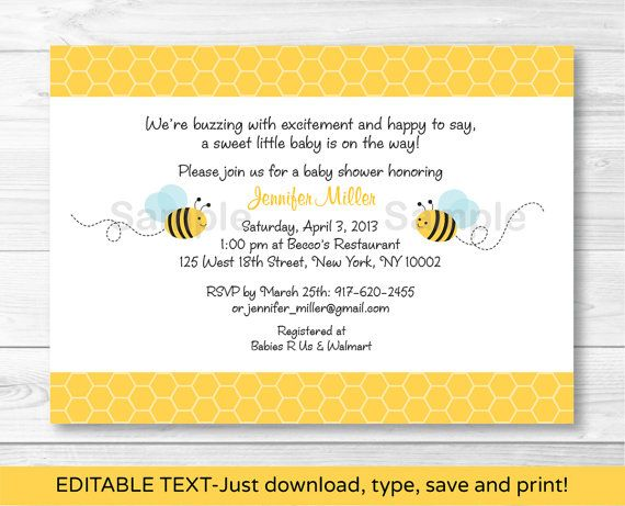 Bumble Bee Baby Shower Invitation INSTANT by LittlePrintsParties, $10.00