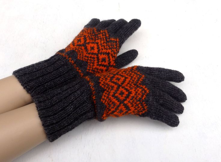 Hand knitted wool gloves, grey orange gloves, latvian gloves with fingers, knitting arm warmers, women fingered gloves, men gloves, by peonijahandmadeshop on Etsy