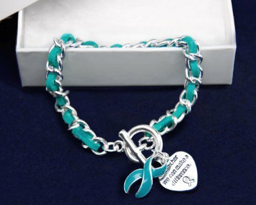A beautiful gift for the women in your life: Teal Ribbon Bracelet-Leather Rope (Retail) by Fundraising For A Cause, http://www.amazon.com/dp/B00665I0Z0/ref=cm_sw_r_pi_dp_o04oqb0RBA7NT