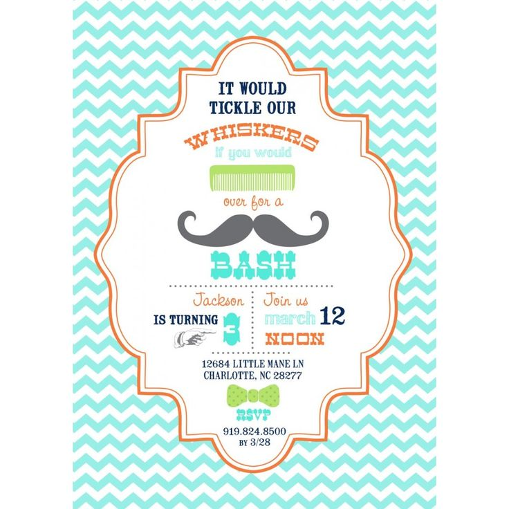 Little Man Mustache Bash Birthday Party Printable Invitation