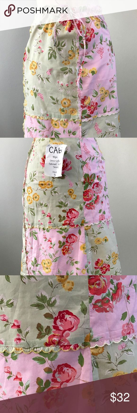 Cabi Hankerchief Patchwork Cotton Skirt Small Cabi Hankerchief Patchwork Cotton Skirt Small Gorgeous skirt with a patchwork of pink and green prints and a sweet scalloped edges. The skirt looks brand new. It has a front tie for better fit plus a back invisible zipper. Nicley lined. Waist: 28 inches  Hips: 36 inches flat  Length: 22.5 inches CAbi Skirts Midi