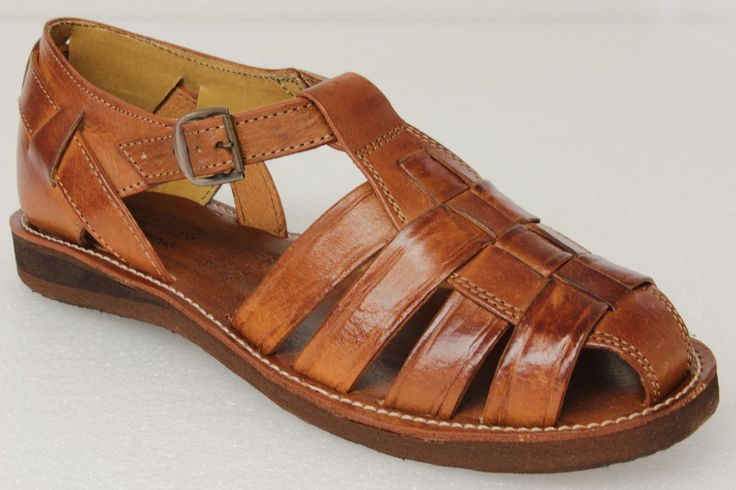 Men s Mexican Huaraches Real Leather Brown Sandals Strapped Closed Shoes