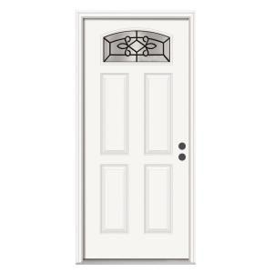 Fabulous Sanibel 36 In X 80 In Primed White Prehung Left Hand Inswing Camber Top Steel Entry Door With Door Handles Collection Olytizonderlifede