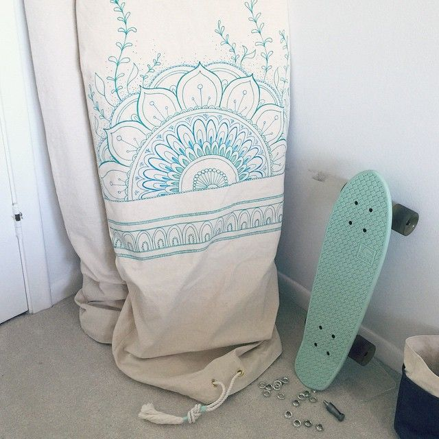 Boho artwork, by hand, surfboard bag