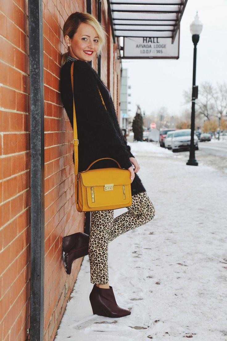 Cheetah leggings #fashion #fuzzycardigan #yellowbag #booties