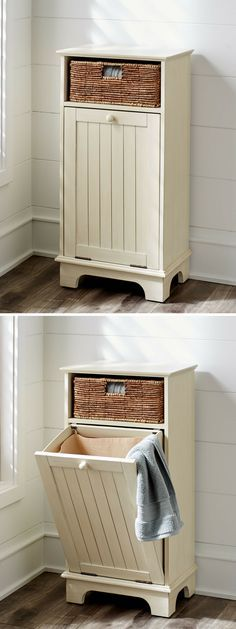 Love this tilt-out hamper from Pier 1, perfect bathroom addition! #hamper #laundry #homedecor #affiliate