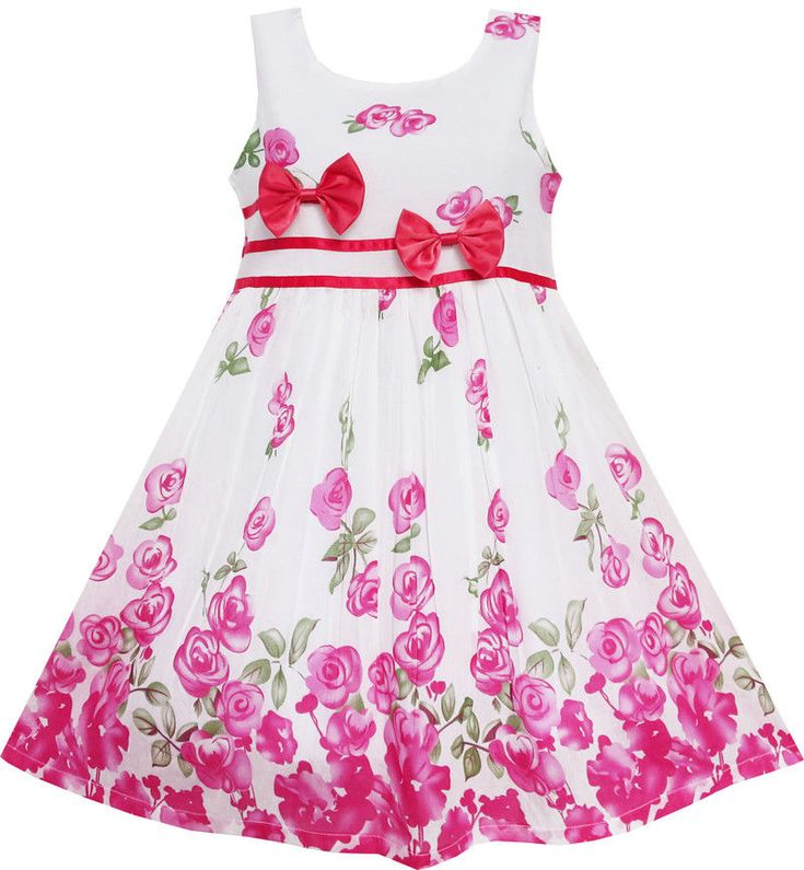 Girls Dress Rose Flower Double Bow Tie Party Birthday Summer Camp Size 11-12 #SunnyFashion #Party