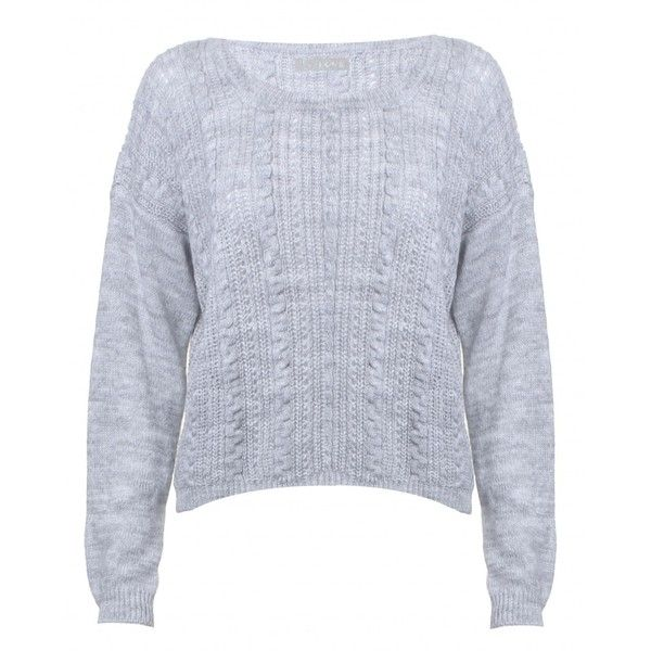 LOVE Grey Cropped Cable Knit Jumper (370 UYU) ❤ liked on Polyvore featuring tops, sweaters, cropped cable knit sweater, grey cable knit sweater, chiffon shirt, cable sweaters and gray cable knit sweater