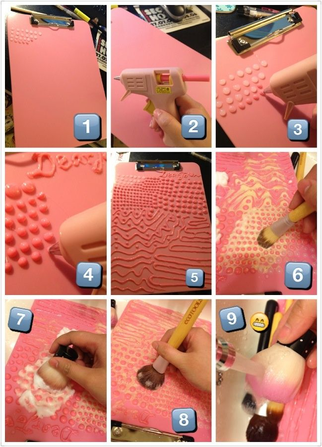 DIY a makeup brush cleaning board. Inspired by secretlifeofabionerd youtuber. This board works really well. What you need it's a clip board and a hot glue gun. Small dots are for eye shadow / smaller brush heads; bigger dots are for face powder/ bigger brush heads; the wave lines are for cleaning out the soap. Hope it works for u guys too! :) | thebeautyspotqld.com.au
