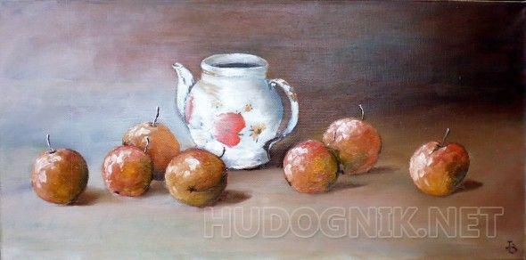 Натюрморт с заварником и фруктами