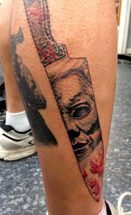 Michael myers image on butcher knife tattoo by alecia for Butcher knife tattoo