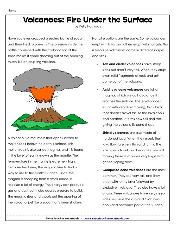 Parts of a Volcano Printable   Volcano Worksheets