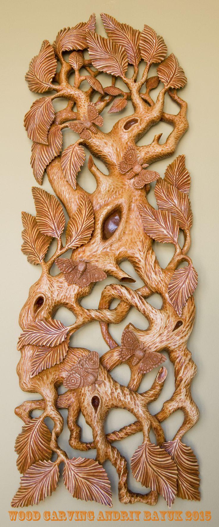 """Wood Carving / Andriy Bayuk, 2015 / Linden, American mahogany, 32"""" x 11"""", 810mm…"""