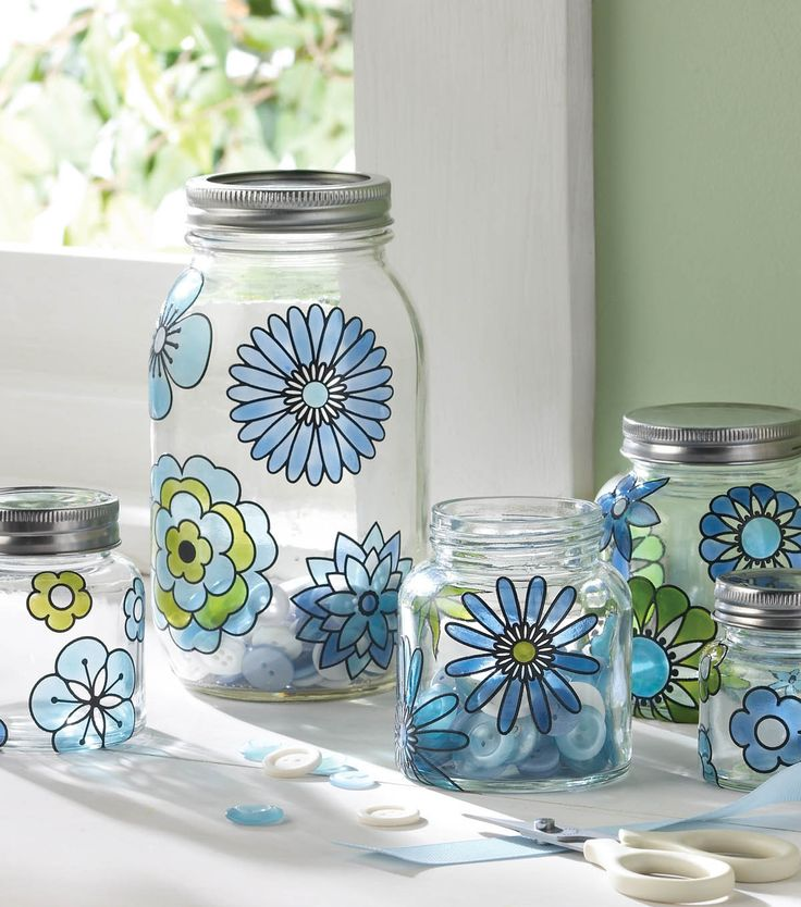 Love this #DIY flower canister set using glass paint from @Plaid Crafts!